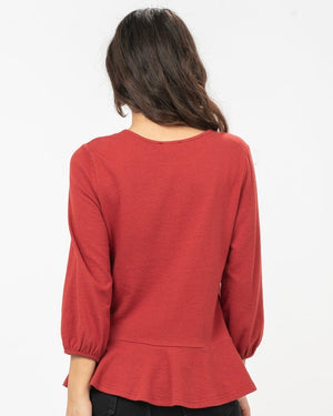 Kara Peplum Top in Rust - alma boutique