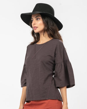 Darling Knit Top in Charcoal - alma boutique