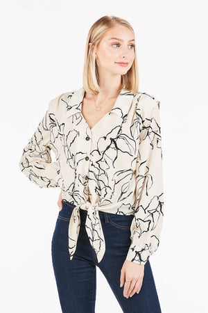 Mod Floral in Cream and White - alma boutique