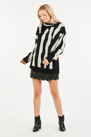 Soft Black and White Print Oversized Sweater