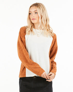 Haley Color block Top in Rust and Cream