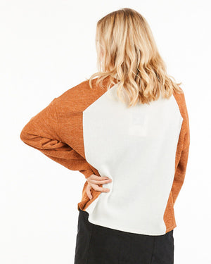 Haley Color block Top in Rust and Cream - alma boutique