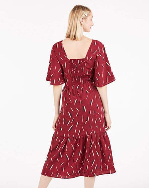 Vivienne Vintage Inspired Burgundy Print Midi Dress