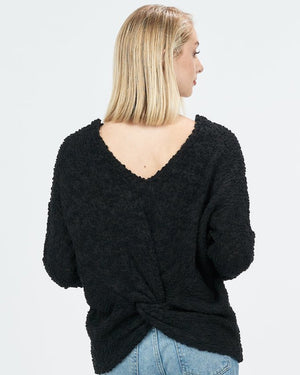 Mackenzie Black Sweater with back twist - alma boutique