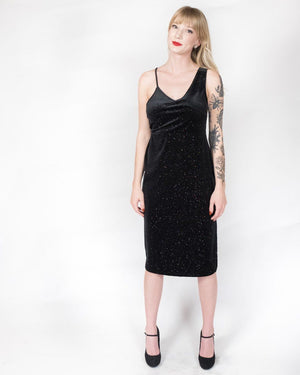 Glitter Velvet Bodycon Midi Dress - alma boutique