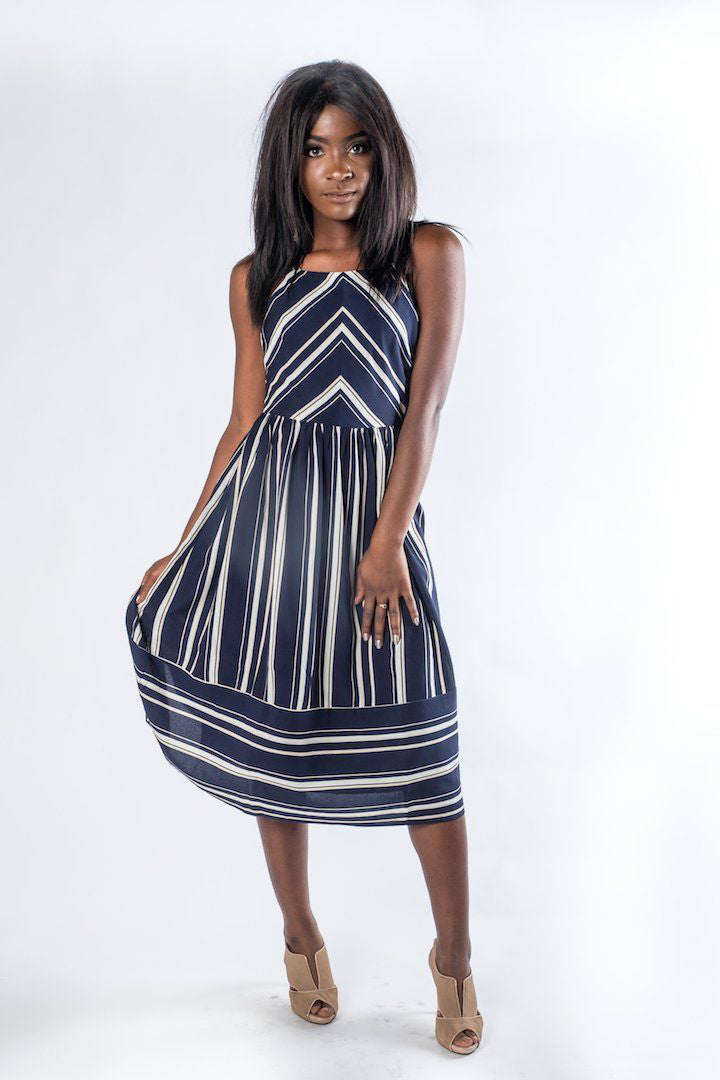 e158a9be35572 The Camille Navy Striped Maxi Dress