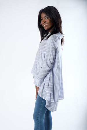 The Serenity Oversized Striped Blouse - alma boutique