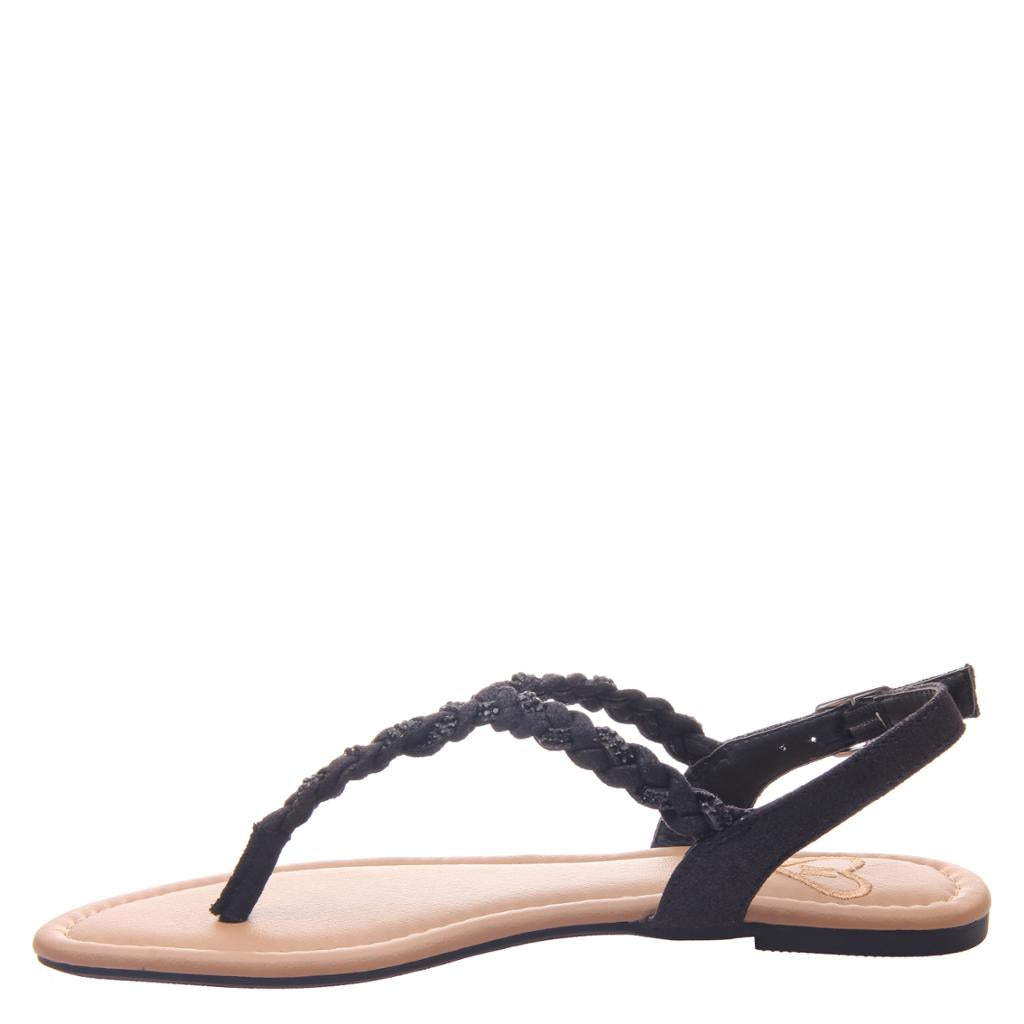 MADELINE - CHARGE in BLACK Flat Sandals - alma boutique