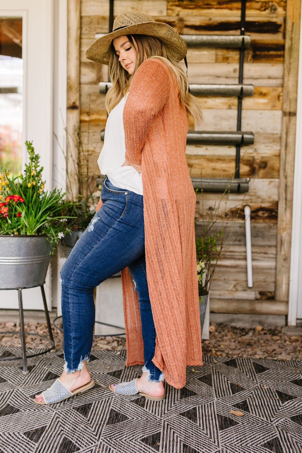Copper Light Sweater Maxi Cardigan