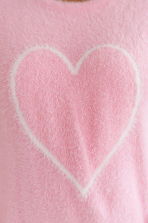 Fuzzy Heart Pullover In Pink