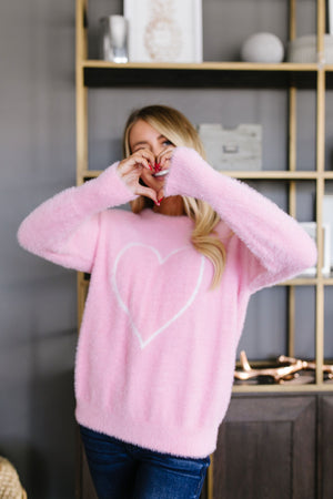 Fuzzy Heart Pullover In Pink - alma boutique