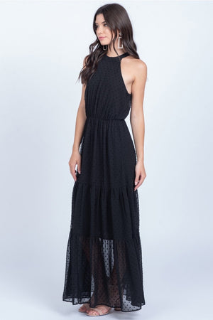 Sarah Black Swiss Dot Maxi Dress - alma boutique