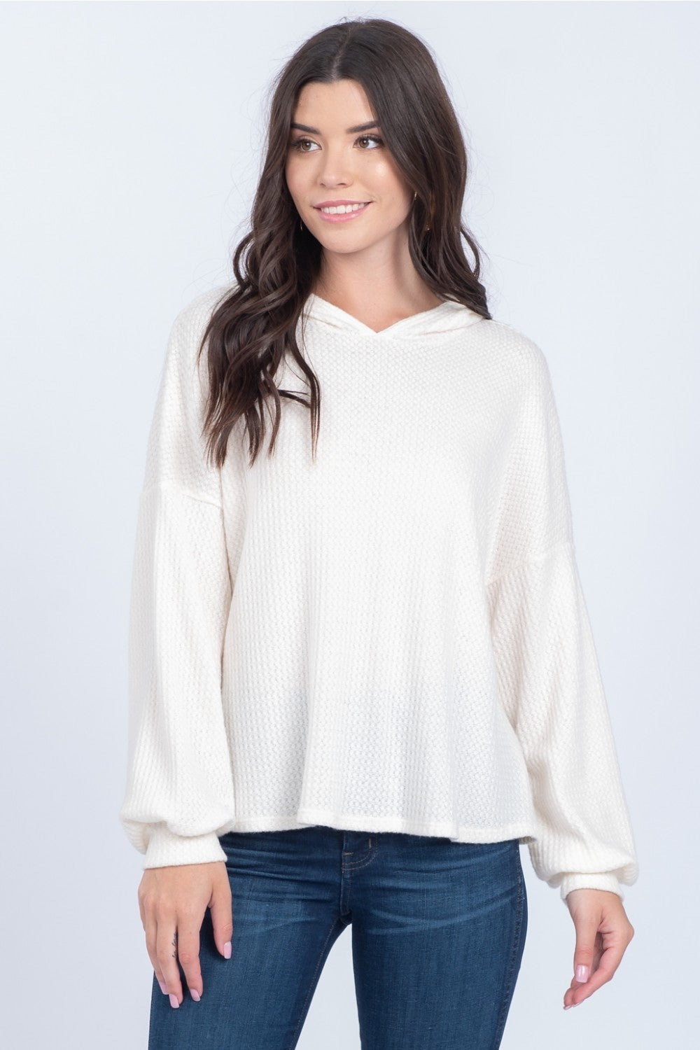 Ellie Ivory Waffle Knit Hoodie - alma boutique
