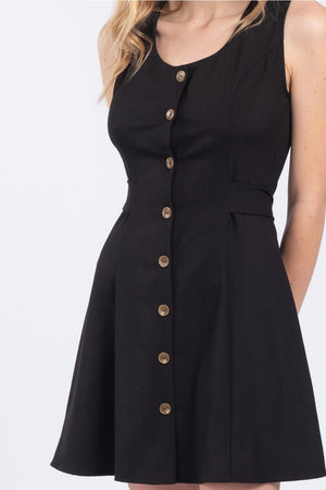 The Kylie Everyday Black Button Dress - alma boutique