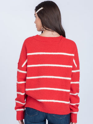 Heather Red and White Sweater - alma boutique
