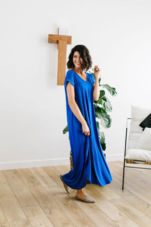 Free And Easy Maxi Dress In Royal Blue - alma boutique