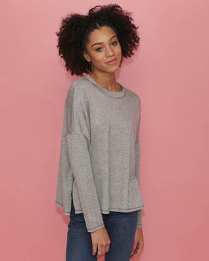 Heather Gray Long Sleeve Dolman Knit Top - alma boutique