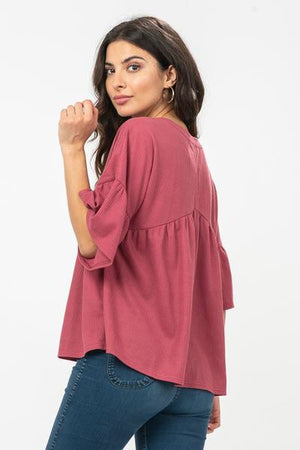Shelby waffle knit top in Mauve