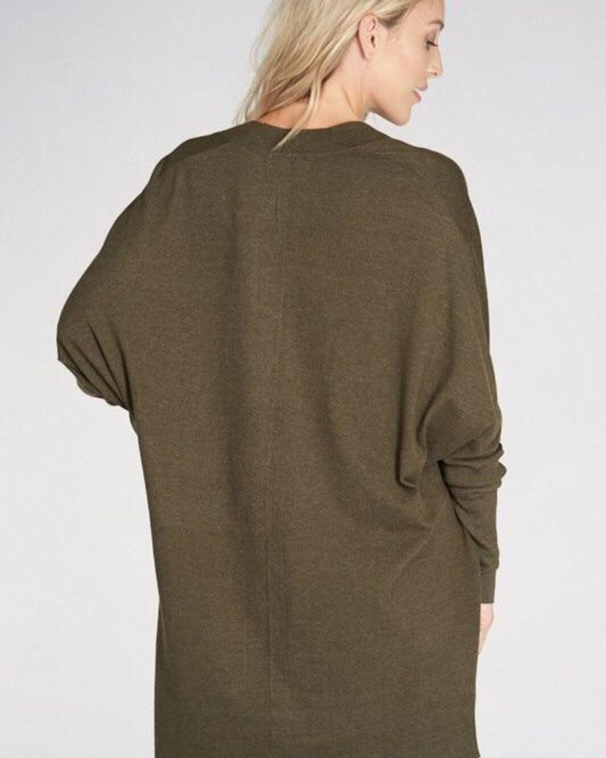 Olive Long Sleeve Cardigan with Pockets - alma boutique