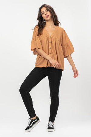 Shelby Waffle Knit Top in Camel