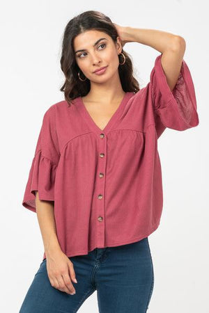 Shelby waffle knit top in Mauve - alma boutique