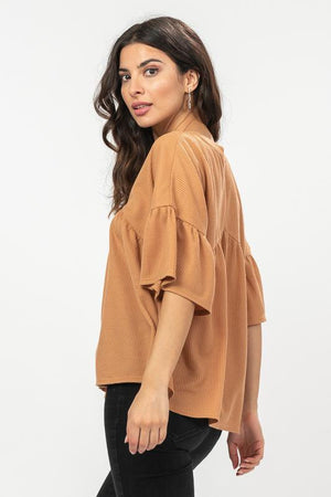 Shelby Waffle Knit Top in Camel - alma boutique