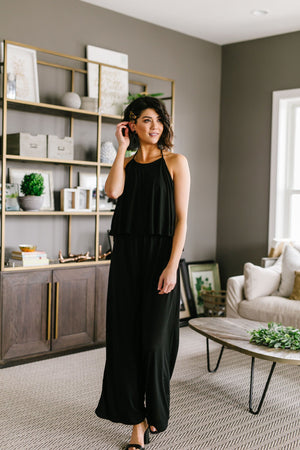 Jump At The Chance Black Jumpsuit - alma boutique