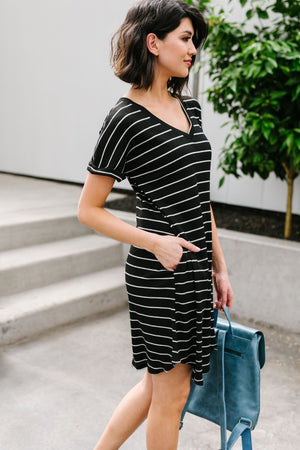 Jamie Black and White Striped T-Shirt Dress