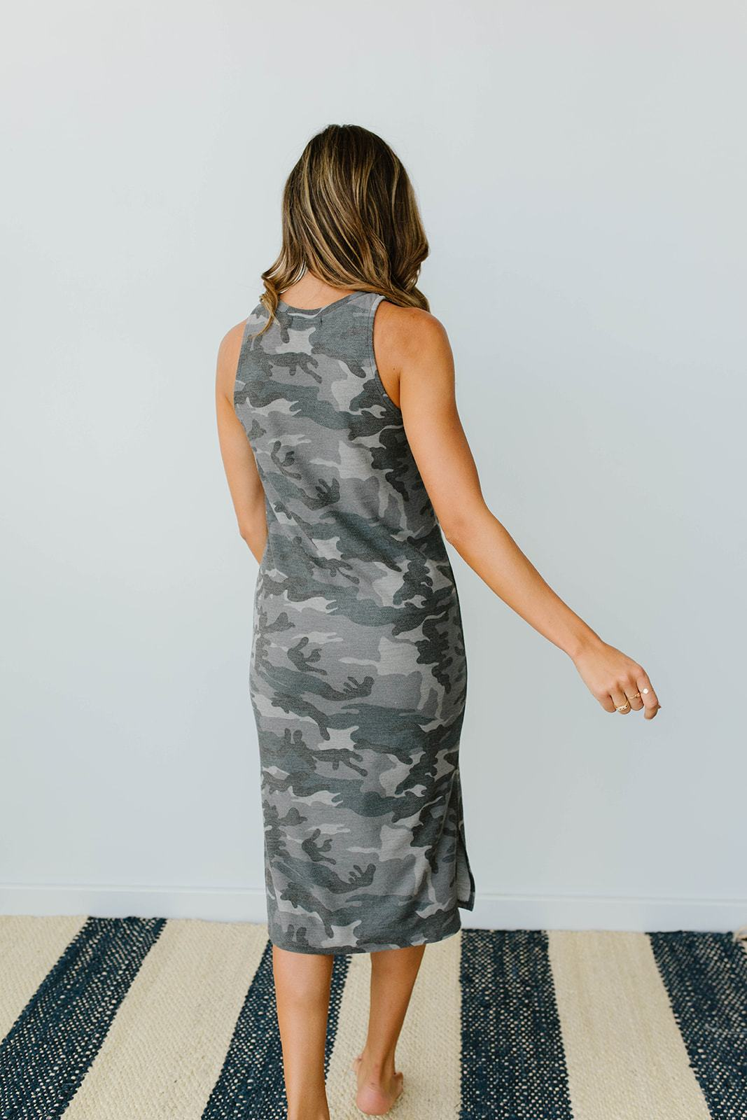 Minimum Exposure Camo Midi Dress