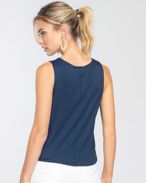 Brie Navy Sleeveless Top with Front Tie - alma boutique