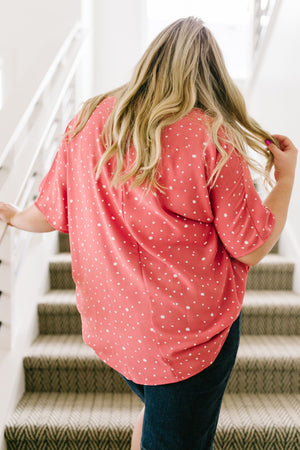 On The Dot Blouse In Coral