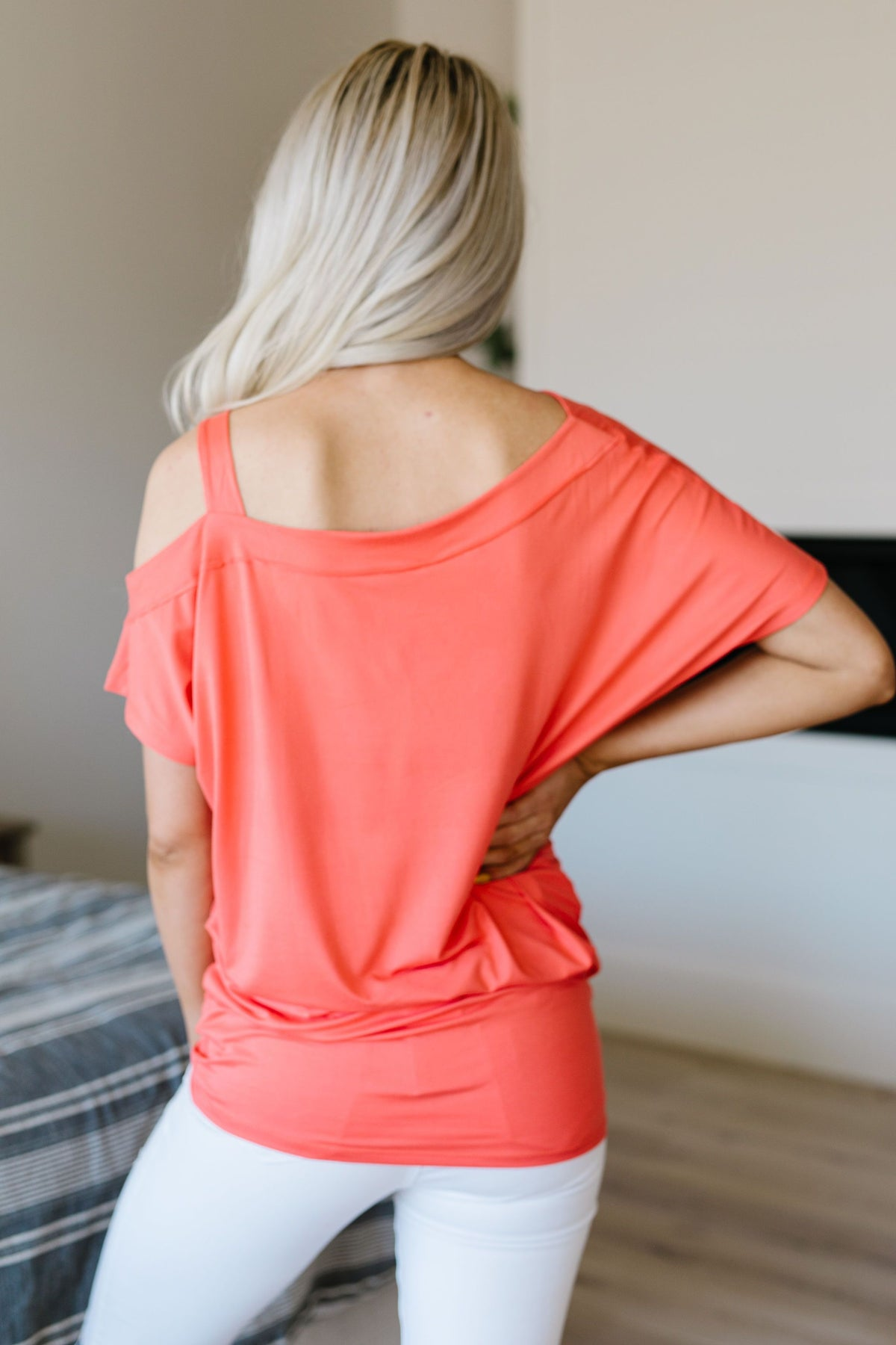 One Shoulder Bare Tunic In Coral - alma boutique