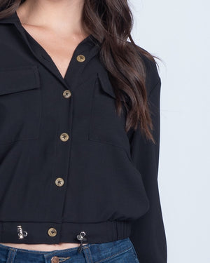 Ally Black Cropped Jacket - alma boutique
