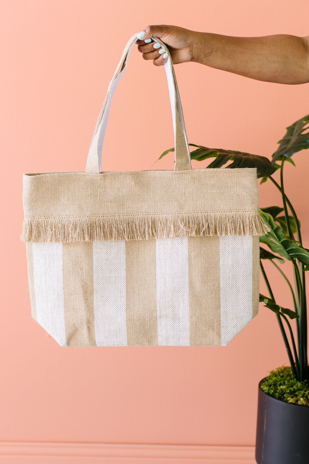 Jute Tote Bag in Platinum Stripe