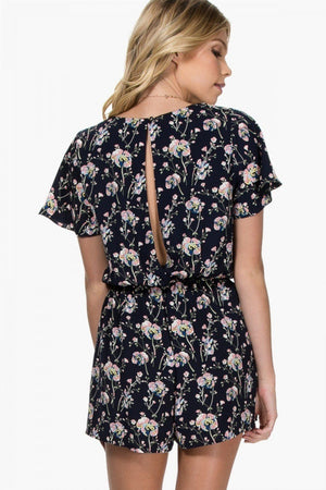The Grace Flutter Floral Romper - alma boutique