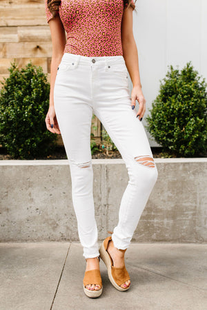 Ripped Knee White Jeans - alma boutique