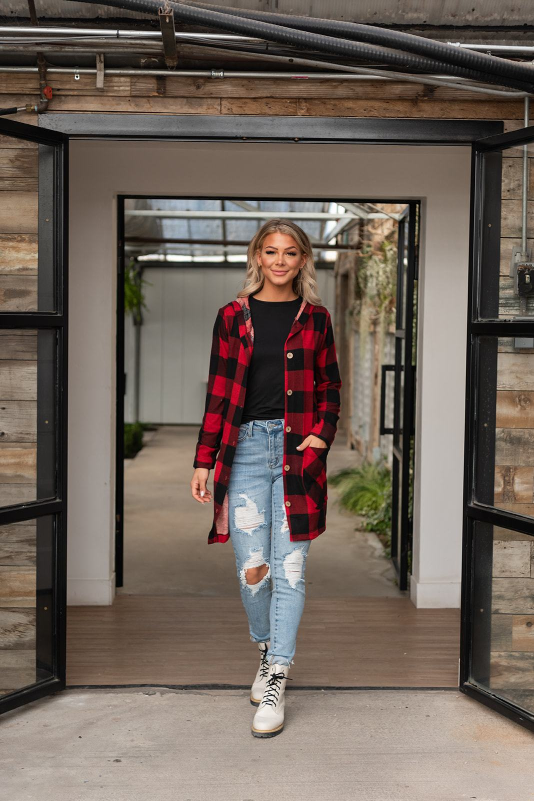 Perfectly Plaid Cardigan- Red and Black