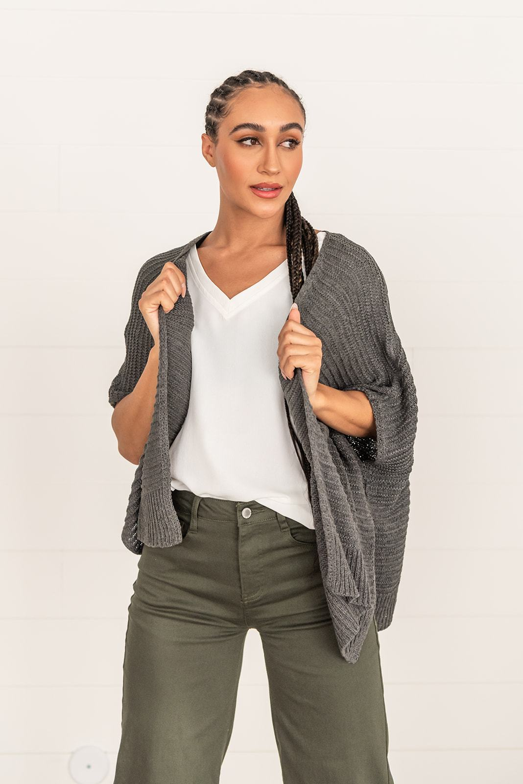 Make It Yours Side Slit Cardigan- Olive