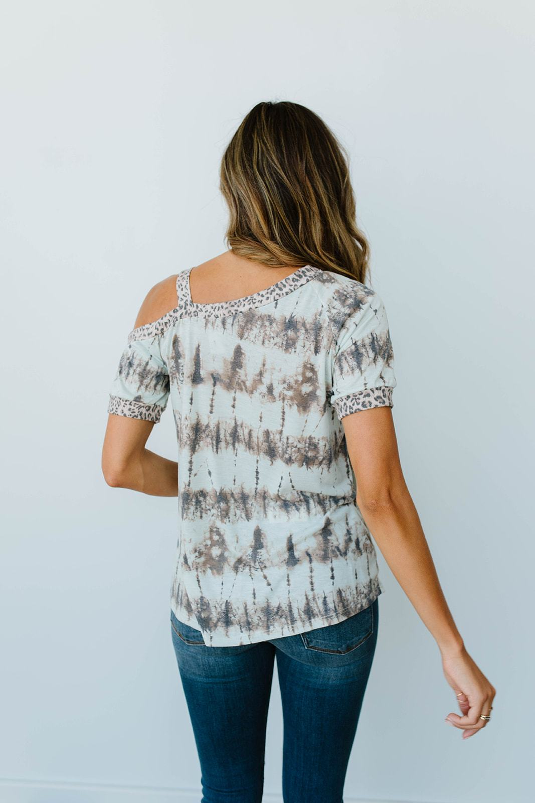 Shania Cold Shoulder Top In Mint