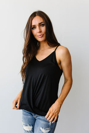 Simply Twisted Tank Top In Black
