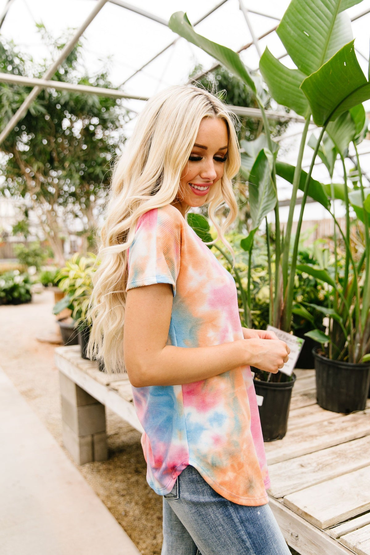 Sunset Tie Dye Waffle Knit Top - alma boutique