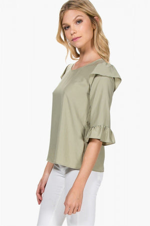 The Sydney Green Ruffle Sleeve Top - alma boutique