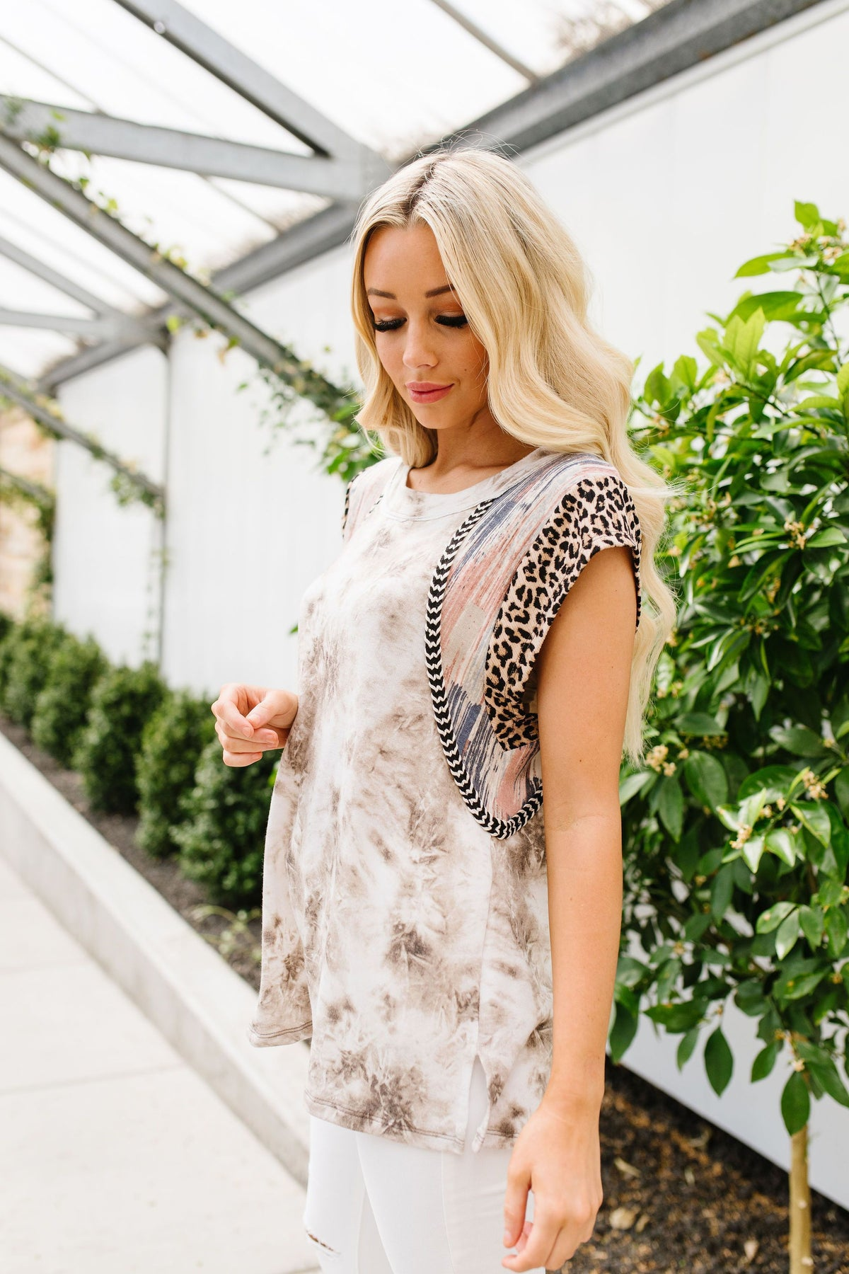 Arden Tie Dye with Animal Print Top