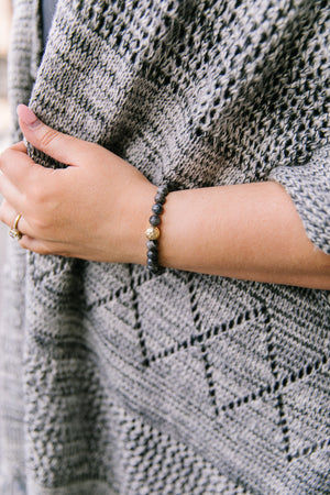 Touch Of Gold Stone Bracelet In Gray Granite - alma boutique