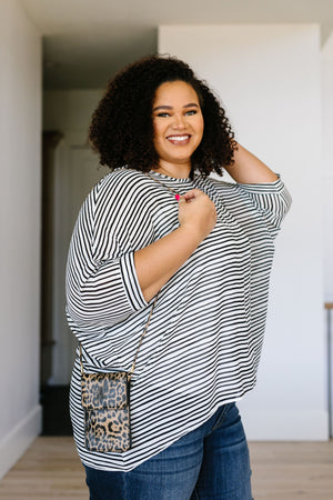 Jenny Black and White Striped Top