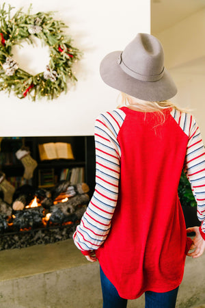 Taylor Red Raglan Top - alma boutique