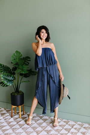 Wild Child Mineral Wash Jumpsuit In Midnight - alma boutique