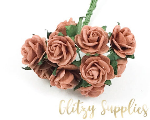 Rose paper flowers glitzysupplies 12 brown paper flowers rose paper flower flower embellishments 15 mightylinksfo