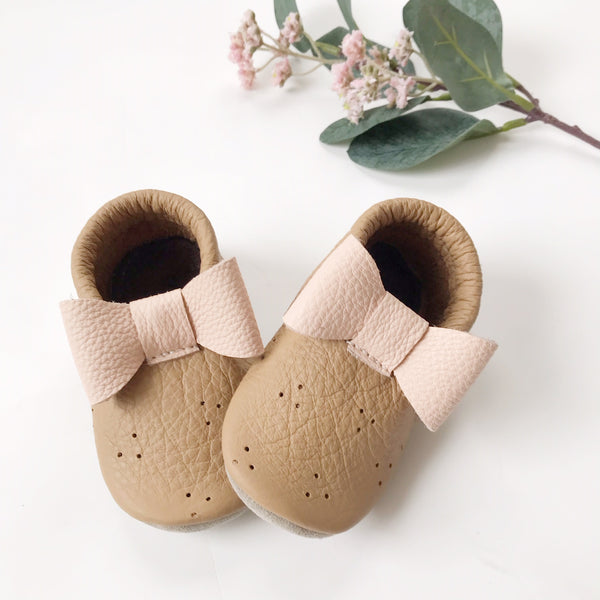 Salted Caramel with Blush Bow Moccs