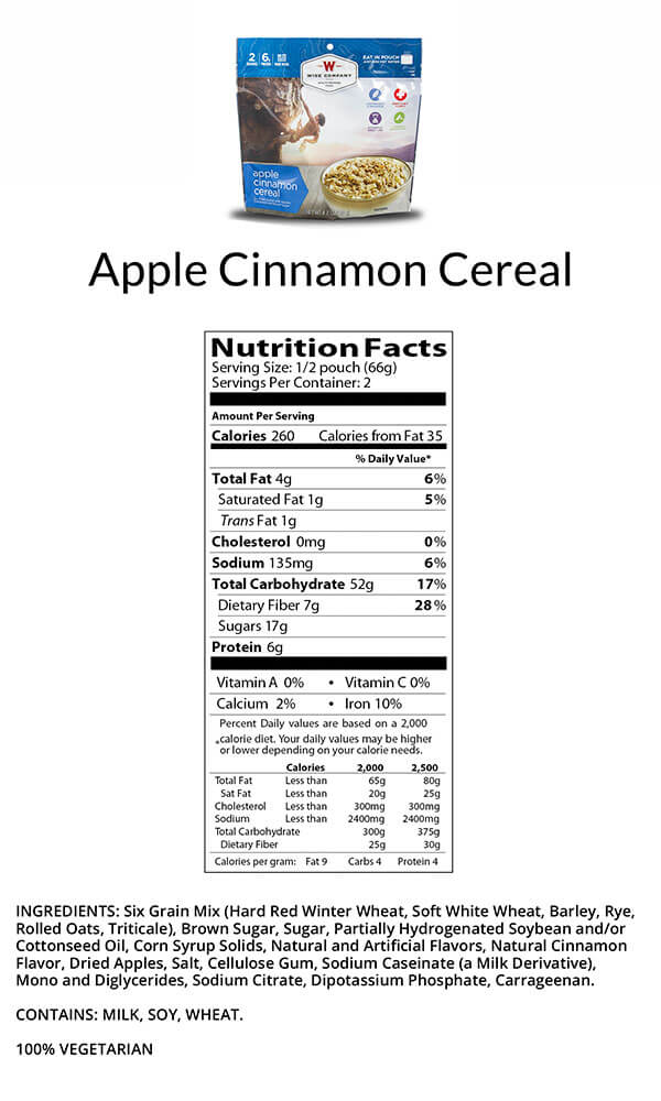 Wise Food Apple Cinnamon Cereal Camping Food Nutritional Facts
